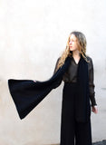 Eleven Everything luxury designer women's scarf in Black cashmere and silk