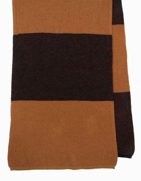 Cashmere and silk women's designer scarf Black and Caramel