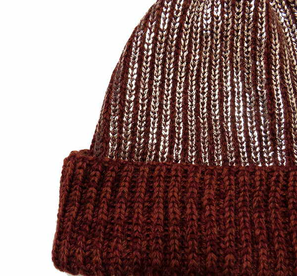 chunky rib knit merino beanie hat turn up trim