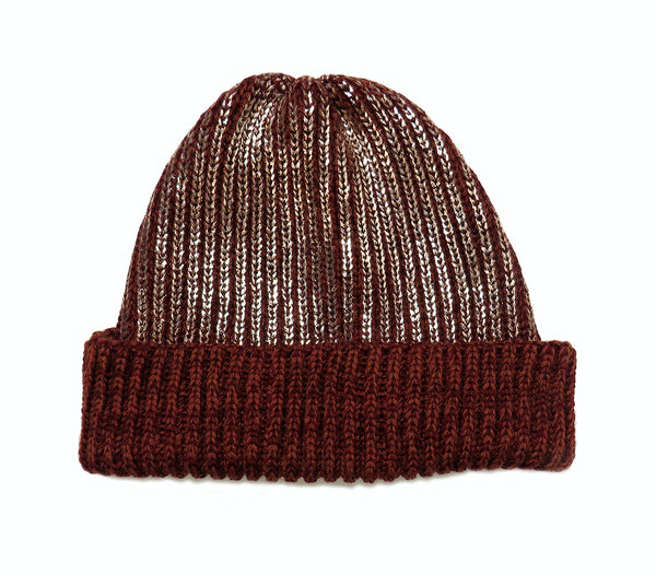 chunky rib merino wool hat rust rose gold
