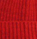 cashmere rib beanie hat close up turn up trim