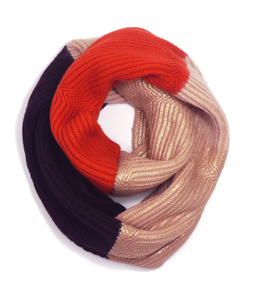 Eleven Everything Metropolis Scarf Loop Tan Orange Maroon Foil