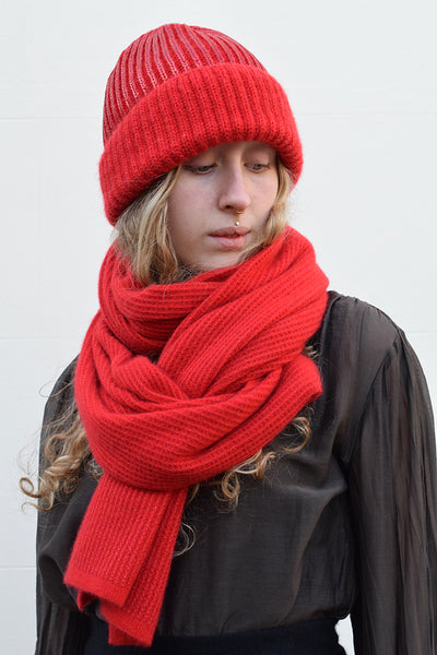 Eleven Everything Women's luxury designer cashmere scarf and Hat Bright Red