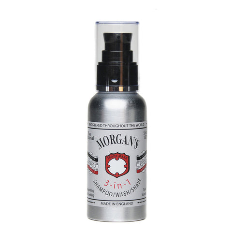 Morgans 3-in-1 Shampoo, Wash & Shave Grooming for men this 100ml Aluminium Bottle is the perfect travel essential shampoo, wash and shave with Morgan's 3-in-1. Invigorating and refreshing. Wash Kit