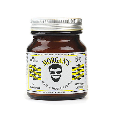 Morgans Beard and Moustache Wax Beard and Moustache Wax 50g Retro Amber Jar A beard wax for a soft, manageable and well maintained look. Soothes and conditions hair. Contains bees wax