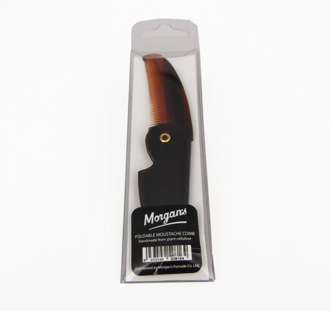 Morgans Folding tortoise shell comb made in Italy from plant cellulose. The perfect pocket companion to discreetly straighten your moustache. Mens pocket comb.