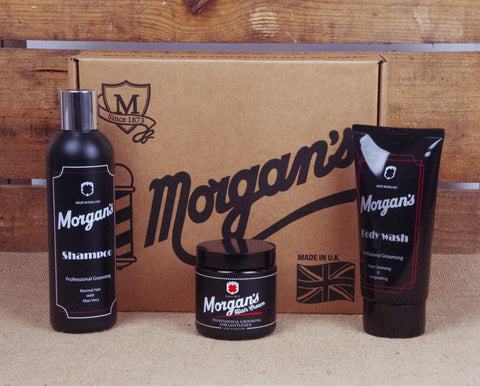 Morgan's Gentleman's grooming gift box containing Shampoo, Body Wash and Hair Cream