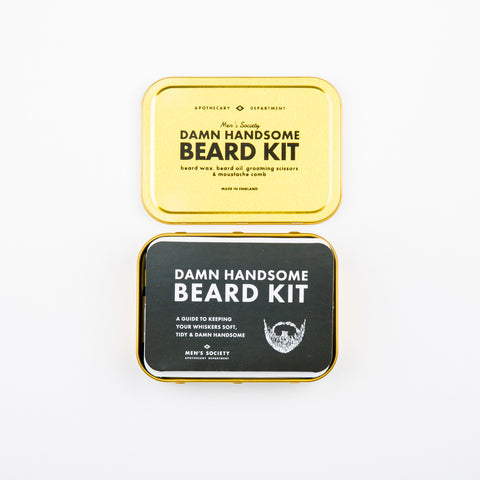 Men's Society Damn Handsome Beard Grooming Kit Pocket sized mens beard grooming kit gift set. Travel grooming gift set for men. Beard Oil, Moustache Wax, Scissors and moustache comb. Mens gifts and presents.