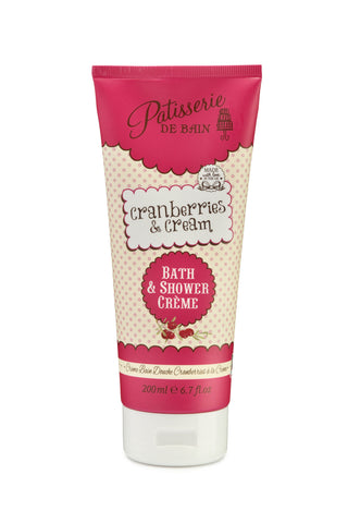 Rose and Co Patisserie de Bain Cranberries and Cream Bath & Shower Crème  is a combination of fresh cranberries with sweet Chantilly cream. Bath and shower cream for women. Women gifts and Mothers day gifts