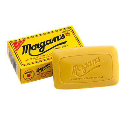 Morgans AntiBacterial Medicated Soap Morgan's Antibacterial Medicated Soap 80g Retro Style Box Protects against 99.9% of germs. Cleanses deep into skin and protects against skin infections and acne
