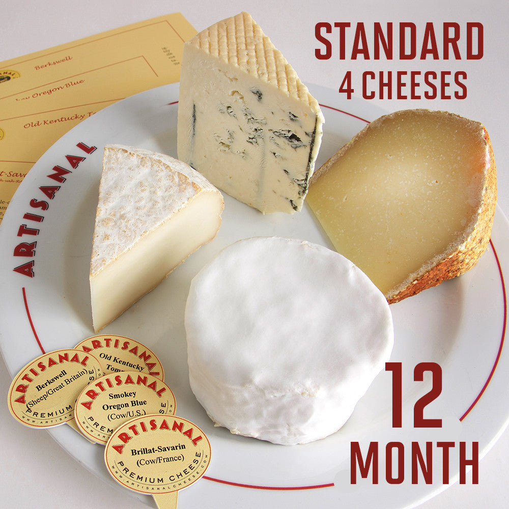 Standard Cheese Club (4 cheeses), 12-Months