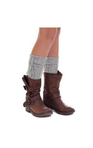 Cable Knit Confetti Boot Cuff with Tassel