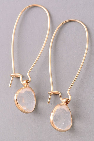 Semi-Precious Stone Charm Dangle Earrings - clear
