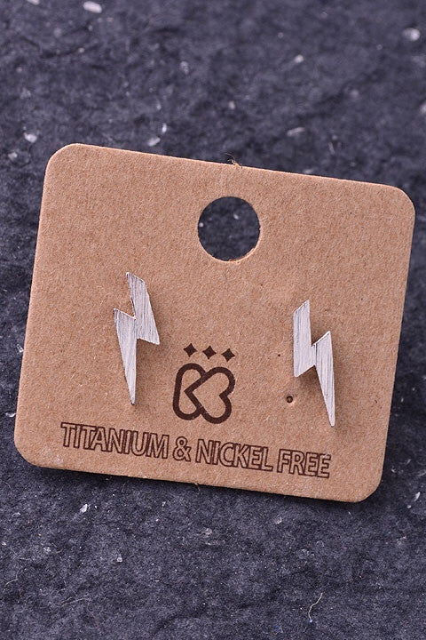 Thunderbolt Earrings, Silver - Available in Gold & Silver