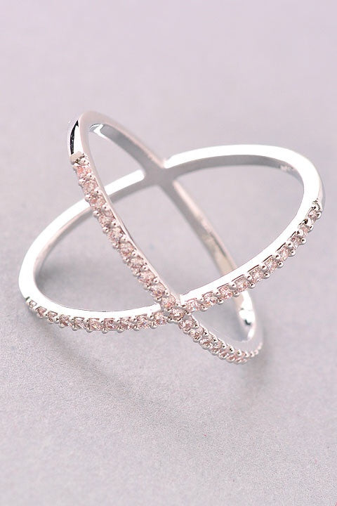 "Sterling Silver CZ ""X"" Ring"