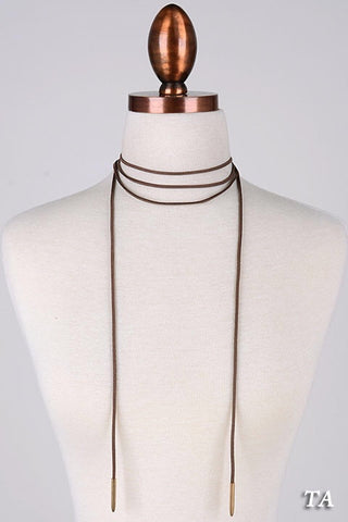 Bohemian Suede Cord Wrap Necklace