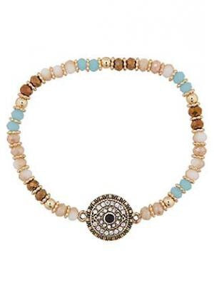Multi Color Evil Eye Stretch Bracelet - natural