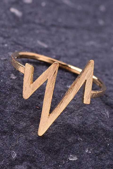 Metallic Gold Zig Zag Ring