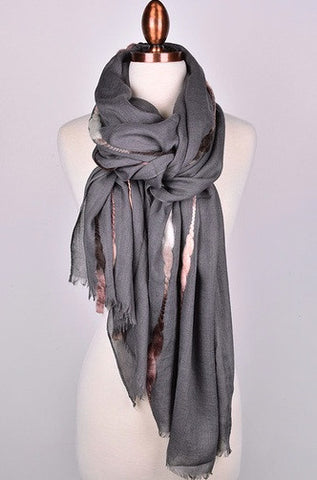 Elegant Cotton Braid Scarf in Gray