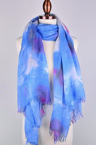Watercolor Scarf in Blue