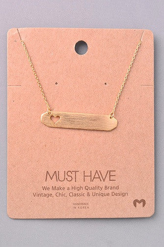 Must Have Collection Heart Cut Out Name Plate Necklace