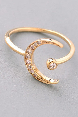 Jewel Moon Charm Ring