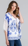 Printed Kimono with crochet trim on sleeve
