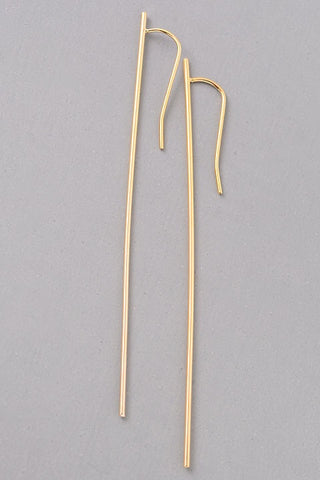 Thin Bar Earrings - gold