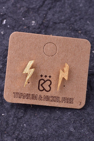 Thunderbolt Earrings, Gold - Available in Silver & Gold