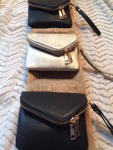Black or Silver Zippered Clutch