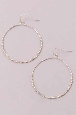 Metallic beaded hoop earrings