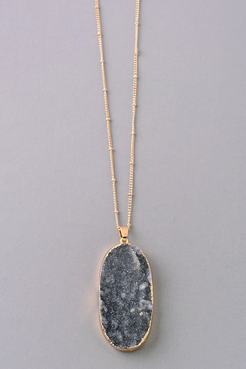 Oval Natural Stone Pendant Necklace - black