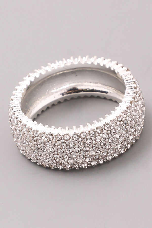 Jewel encrusted band ring, Silver