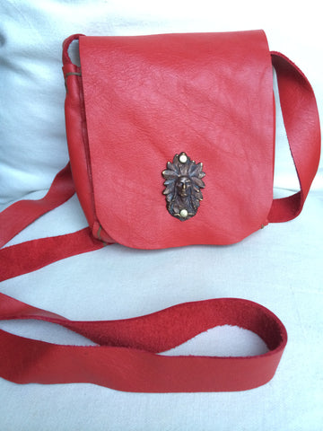Leather Cross Body Pouch Purse (Red)