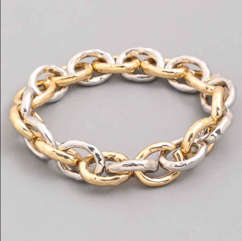 Chain link gold and silver bracelet