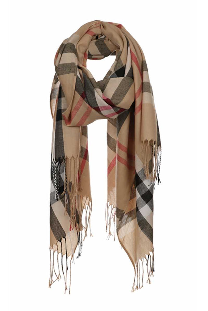 Tan plaid scarf with fringe