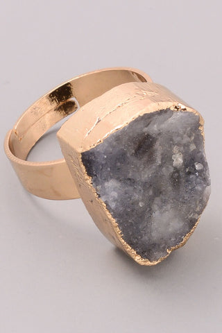 Sparkling Druzy Stone Ring, Avail in 4 colors
