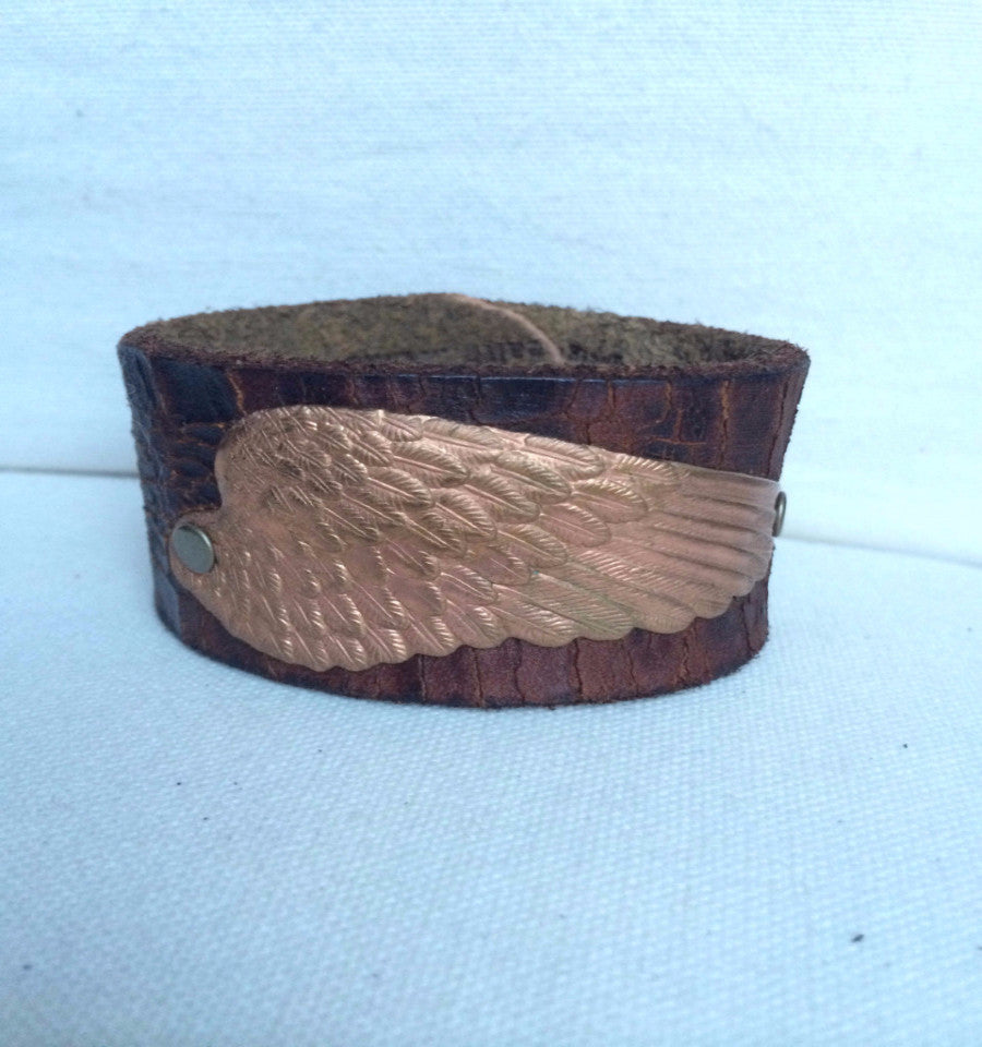 Unique Leather cuff bracelet