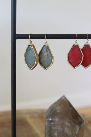 Semi-Precious Stone Pendant Earrings