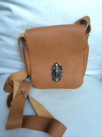 Leather Cross Body Pouch Purse (Tan)