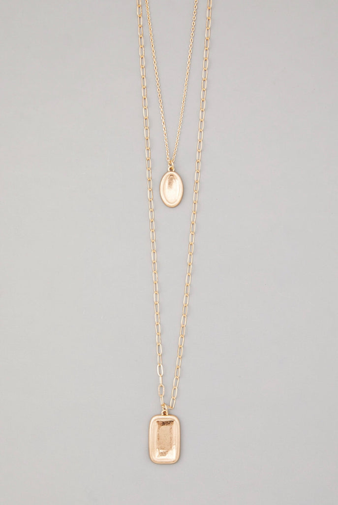 Gold Chain Long Layered Rectangle Pendant Necklace