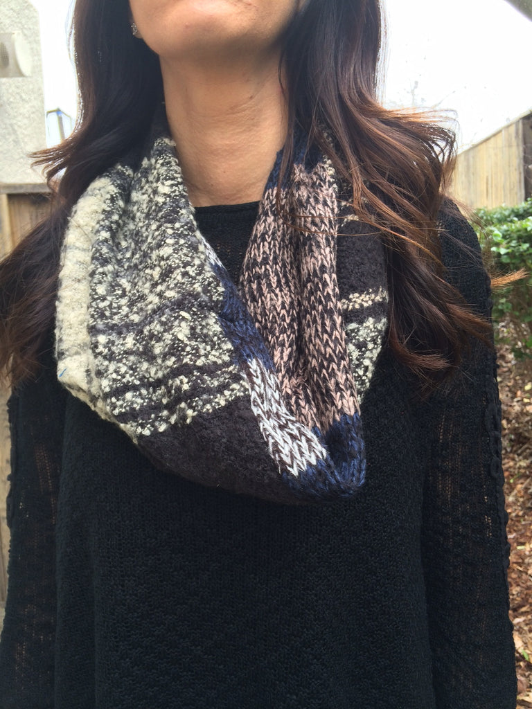 Plaid Scarf (Cream/Navy/Taupe/Black)