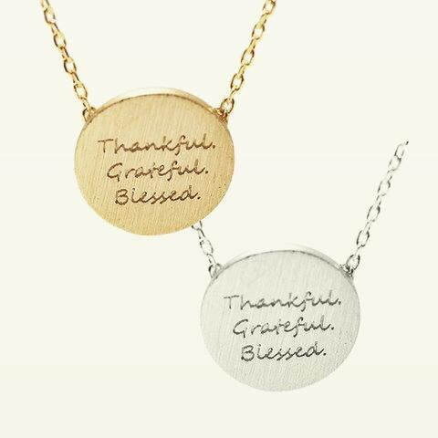 """Thankful Grateful Blessed"" necklace (Rose gold or Silver)"