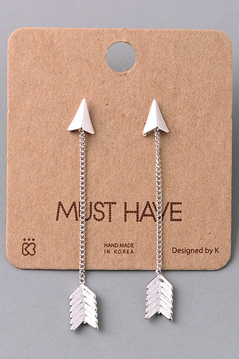 Arrow Drop Dangle Earrings - Silver