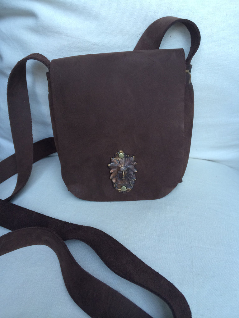 Leather Cross Body Pouch Purse (Chocolate)