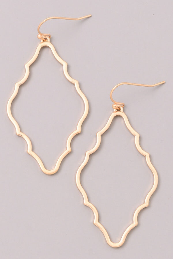 Gold Framed Dangle Earrings