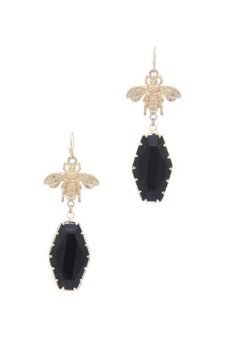 Insect dangle black stone jewel earrings