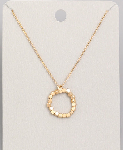 Mini Circle Beaded Pendant Necklace, Gold