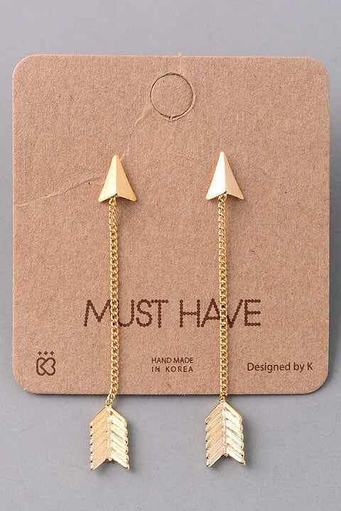 Arrow Drop Dangle Earrings - gold