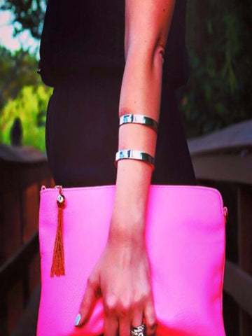 Aqua, Pink and Coral Oversized Clutch
